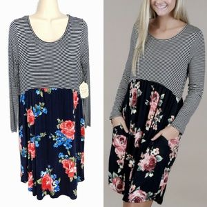 Altar'd State Smell the Roses Pocket Dress NWT S